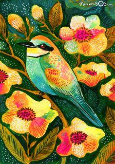 A bee-eater | artwork by Miriam Bos | #illustration #gouache #brushpen #miriambos