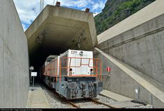 A work train at the south portal of the AlpTransit Basis Gotthard Tunnel
