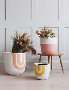 Rainbow Print Fibre Clay Plant Pots- Three Sizes Available | Rose & Grey