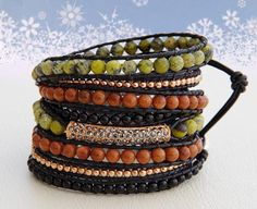 Copper... Leather wrap bracelet... 8 rounds beaded leather wrap bracelet. Original OceanBead style.