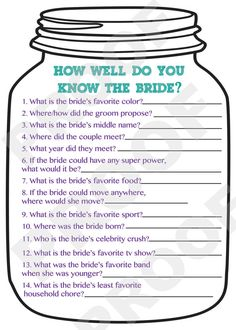 Playful image with how well do you know the bride free printable