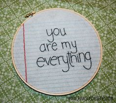 you are my everything- stitching love notes