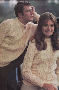 Aran Sweater Knitting Pattern, His and Hers Sizes