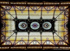 Gran Hotel Cuidad de Mexico; Cuidad de Mexico, Mexico  The centerpiece of an absolutely stunning hotel, this amazing domed ceiling was made from Tiffany glass. Built in 1908, it perfectly compliments the stained glass in the hotel's ornate elevators.
