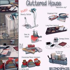 Second spaces - cluttered house clutter sims sims 4 bedro Sims 3, The Sims 2, The Sims 4 Packs, Sims 4 Teen, Sims Mods, Sims 4 Game Mods, Sims 4 Mods Clothes, Sims 4 Clothing, Sims Games