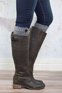 Grey Crochet One Button Boot Cuffs