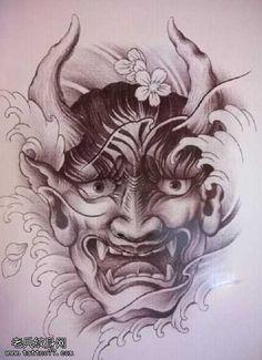 Samurai Mask Tattoo, Hannya Tattoo, Oni Mask Tattoo, Skull Tattoos, Leg Tattoos, Asian Tattoo Sleeve, Sleeve Tattoos, Japanese Tattoo Art, Japanese Tattoo Designs