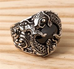 Japanese Carp Koi Fish Sterling Silver Rings. With huge black onyx stone inlaid.