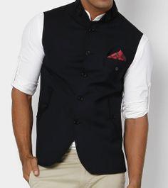 Navy Blue Nehru Jacket with designer red pocket square Nehru Jacket For Men, Nehru Jackets, Indian Men Fashion, Mens Fashion Blog, Men's Fashion, Fashion Outfits, Fashion Design, Wedding Dress Men, Wedding Suits