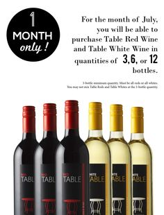 Four days left!  Table Red Wine and Table White Wine available in quantities of 3, 6, or 12 bottles. Who needs a refill? #tablewine