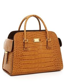 Michael Kors Handbags Sale Gia Embossed Satchel Tan Crocodile-Embossed
