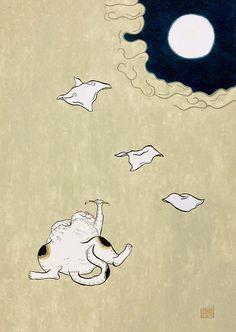 あれやこれやとゴロゴロと考えて考えて。ぱたぱたと飛んでいく。ぱたぱたと。 #art #illustration #japan #cat #Watercolor #猫 #イラスト #日本画 #アート Illustration, Celestial, Illustrations