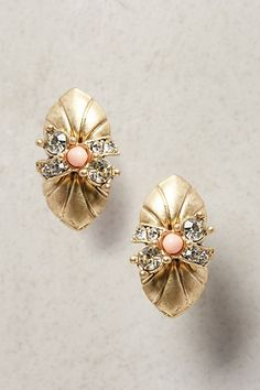 love these gold, crystal and coral conch studs on major sale during Anthropologie's Labor Day Sale!