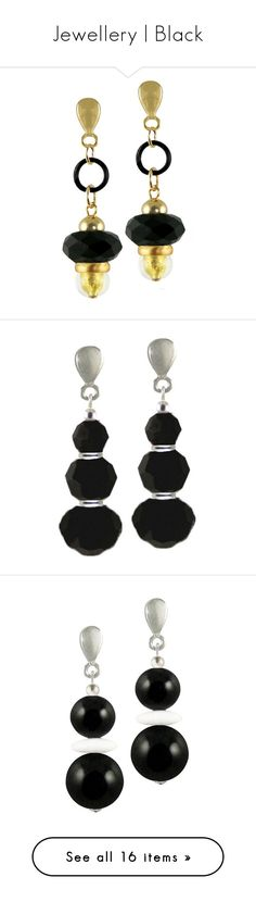 """""""Jewellery   Black"""" by eternal-collection ❤ liked on Polyvore featuring jewelry, earrings, swarovski crystal earrings, silver jewelry, clip back earrings, swarovski crystals earrings, swarovski crystal jewellery, costume jewellery, costume jewelry clip earrings and precious stone earrings"""