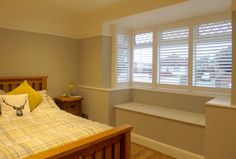 View a range of full height window shutters from Shuttersouth, Hampshire's leading shutter design and installation experts. Custom made full height shutters House Blinds, Blinds For Windows, Bay Windows, Bay Window Shutters, Shutter Designs, Shutter Blinds, Bamboo Blinds, Bed, Modern Homes