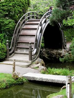 Japanese Garden Elements - Bridges -   Tea Garden, San Francisco, CA  Loren Madsen