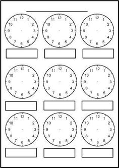 Worksheet containing 9 analogue clocks showing o'clock