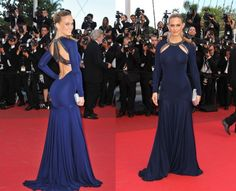 Bar Rafaeli in a stunning Robert Cavalli navy blue gown *secretly wishing Leonardo would come to his senses and get back with her already*