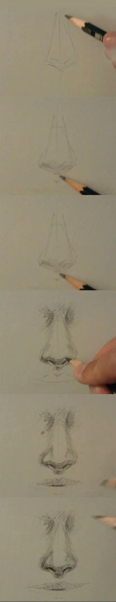 Sketching a realistic nose tutorial.