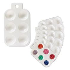 Tray, plastic, white, 5-1/4 x 3-1/2 inches with 6 round compartments and hanging tab. Sold per pkg of 6.