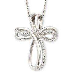 fee75fc08980  124.98 Sterling Silver 1 10 CT. T.W. Diamond Cross Pendant Necklace found  at
