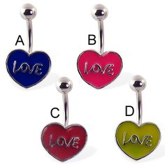 Love and heart belly button ring Heart Piercing, Navel Piercing, Belly Button Piercing, Piercings, Belly Rings, Belly Button Rings, Love, Ms, Pink