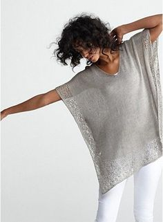 Crochet Side Stitch V-Neck Boxy Tunic in Linen Delave Jersey with Lace Trim, Eileen Fisher - Crochet Shawl, Knit Crochet, Crochet Braid, Crochet Summer, Summer Knitting, Look Fashion, Womens Fashion, Fashion 2015, Gothic Fashion