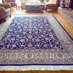 Blue And White Indian Wool Area Rug