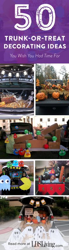 50 Trunk-or-Treat Decorating Ideas You Wish You Had Time For Get inspired for your trunk-or-treat look by these 50 amazing trunk-or-treat decorating ideas, from the flashy and flamboyant to the simple and sophisticated! Fall Carnival, Halloween Carnival, Holidays Halloween, Halloween Treats, Halloween Diy, Halloween Decorations, Halloween Costumes, Halloween Stuff, Halloween Games