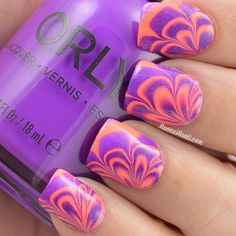 Pink and purple flower nail marbling