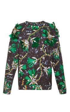 Stunning embellished Cotton Sweatshirt by Mary Katrantzou - Moda Operandi. Ghanaian Fashion, African Fashion, World Of Fashion, Diy Fashion, Neoprene, Textiles, Mary Katrantzou, Fashion Details, Fashion Prints