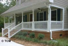 Colonial baluster installed on the front porch with stairs