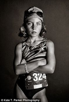 Serious athlete: Kate snapped these pictures of her daughter Ella, nine, before her first triathlon (pictured) and while she was playing soccer