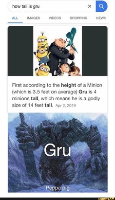 ALL IMAGES VIDEOS SHOPPING NEWS First according to the height of a Minion (which is feet on average) Gru is 4 minions tall, which means he is a godly size of 14 feet tall. Crazy Funny Memes, Really Funny Memes, Stupid Funny Memes, Funny Laugh, Funny Tweets, Funny Relatable Memes, Funny Posts, Funny Stuff, Random Stuff