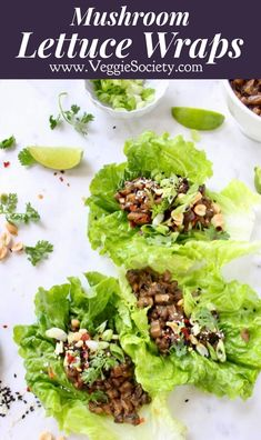 Better than PF Chang's vegan mushroom lettuce wraps, made oil, dairy and gluten free with a garlic lime peanut sauce Lettuce Wrap Sauce, Pf Changs Lettuce Wraps, Vegetarian Lettuce Wraps, Asian Lettuce Wraps, Lettuce Wrap Recipes, Veggie Wraps, Vegetarian Recipes, Healthy Recipes, Vegetarian Sandwiches