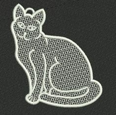 Freestanding Lace Cat - 4x4 | FSL - Freestanding Lace | Machine Embroidery Designs | SWAKembroidery.com VK-Digitizing