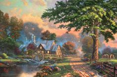 The hush of the evening begins to settle over a small country home with a quiet stillness that is broken only by the gentle babble of the brook, the rustle of the wind in the trees, and the soothing creak-and-turn of the water wheel. It is in moments like these where the peace and harmony of simpler times can be both enjoyed and realized.