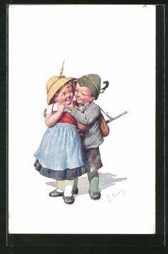 Belle-artiste-AK-Karl-jour-ferie-petit-chasseur-et-fille