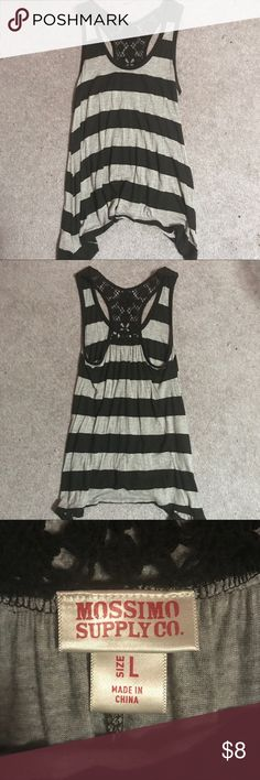Black and Gray Flowy Tank Black and gray striped tank top. Flowy fit, size large. Lace detailing around collar and on back. Only worn a few times.  (Tags: summer, festival, fashion, boho, bohemian, cute, style, tops, tanks, black, gray, basic, edgy, like new, mossimo supply co.) Mossimo Supply Co. Tops Tank Tops