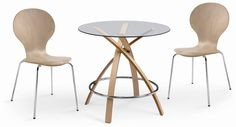 CAFE 306 Wood & SIDE 17 Nature. Tempered clear glass top with bentwood covered by wood paper for legs. Nice touch to your dining room. Perfect solution for cafe place or small dining restaurant as well.