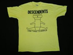 Vintage 80s DESCENDENTS I DON'T WANT TO GROW UP T-Shirt XL