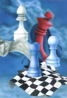 Chess Postcard. Design: Zoltán Vámos Titel: Allegory
