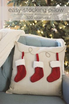 LOVE the reds and blues together!!! :)   http://www.320sycamoreblog.com/2012/11/easy-6-christmas-stocking-pillow.html