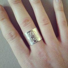 Sterling silver monogram cuff ring