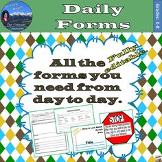 Daily Necessities Forms has forty (40) different forms you might need to run your classroom on a daily basis from attendance to discipline to grading, passes, & more. All are fully editable and can be made to fit your own classroom and school. Please note these may not be resold, adjusted and resold, copied and resold, etc.
