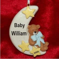 Baby Sweet Sleep on the Moon Blue - Personalized First Christmas Ornament