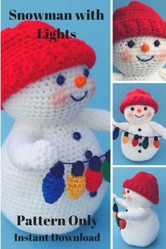 I love this crochet pattern for a snowman holding Christmas lights. Cute Crochet, Crochet Crafts, Crochet Dolls, Yarn Crafts, Knit Crochet, Crochet Snowman, Christmas Crochet Patterns, Crochet Christmas Ornaments, Christmas Lights