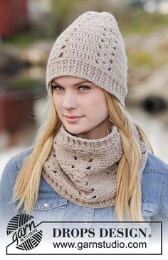 """Linnéa - Set consists of: Crochet DROPS hat, neck warmer and mittens with lace pattern in """"Nepal"""". - Free pattern by DROPS Design Crochet Adult Hat, Bonnet Crochet, Crochet Beanie, Crochet Shawl, Free Crochet, Knitted Hats, Knit Crochet, Knit Cowl, Crochet Granny"""