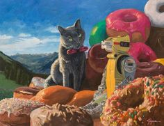"""Eric Joyner's """"Sweet Dominion"""" at Corey Helford Gallery.Currently on display at Corey Helford Gallery in Los Angeles, California is San Francisco based artist Eric Joyner's new solo show """"Sweet. Surrealism Painting, Pop Surrealism, Eric Joyner, Vintage Robots, Pet Shop Boys, Macabre Art, Surreal Art, Elementary Art, Decoration"""