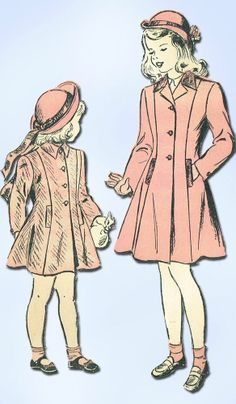 1940s Vintage Little Girl's Coat Unused 1947 Advance Sewing Pattern 4540 Sz 8